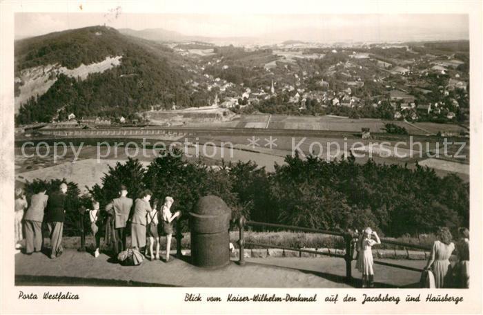 AK / Ansichtskarte Porta_Westfalica Blick vom Kaiser Wilhelm Denkmal auf Jacobsberg und Hausberge Porta_Westfalica