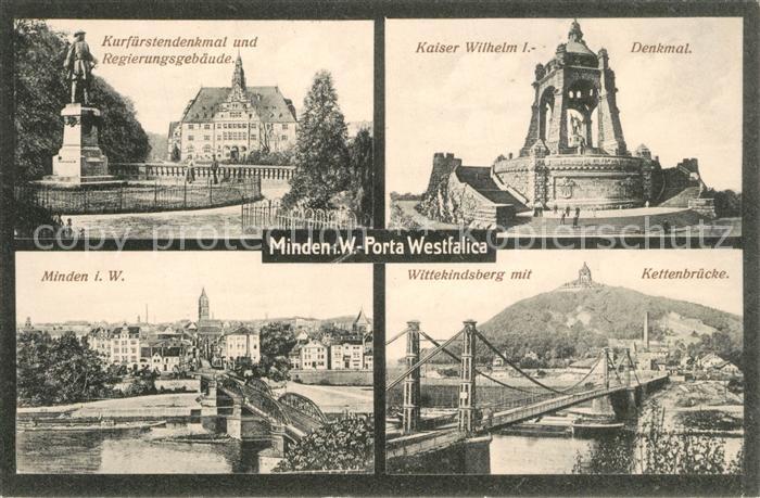 AK / Ansichtskarte Minden_Westfalen Kurfuerstendenkmal Kaiser Wilhelm I Denkmal Stadtblick Wittekindsberg mit Kettenbruecke Minden_Westfalen