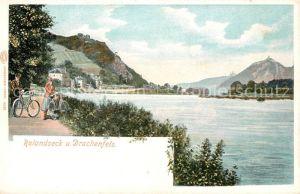 AK / Ansichtskarte Rolandseck Uferweg am Rhein mit Drachenfels Kuenstlerkarte Rolandseck