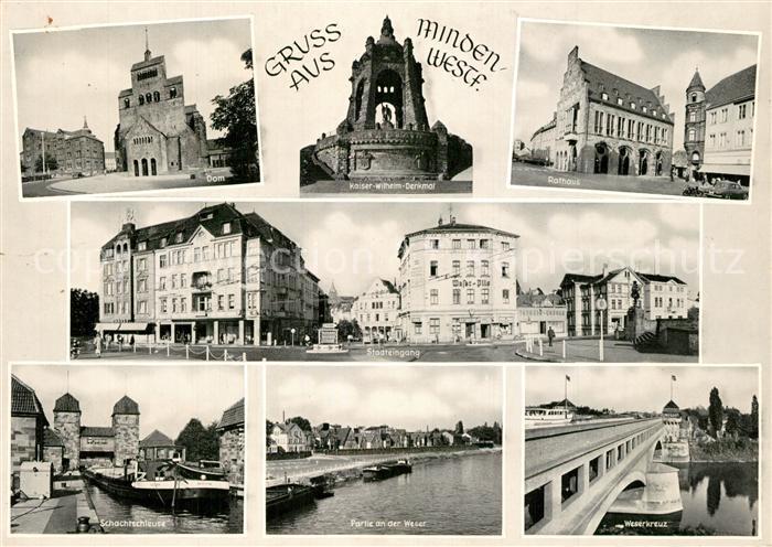 AK / Ansichtskarte Minden_Westfalen Dom Kaiser Wilhelm Denkmal Rathaus Stadteingang Schachtschleuse Weserpartie Weserkreuz Minden_Westfalen