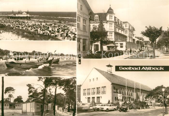 AK / Ansichtskarte Ahlbeck_Ostseebad Strand Seebruecke FDGB Erholungsheim Bernhard Goering Haus der Erholung Ahlbeck_Ostseebad