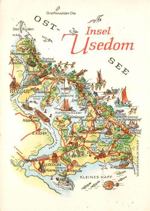 Ak Ansichtskarte Insel Usedom Landkarte Insel Usedom Nr Vd16317
