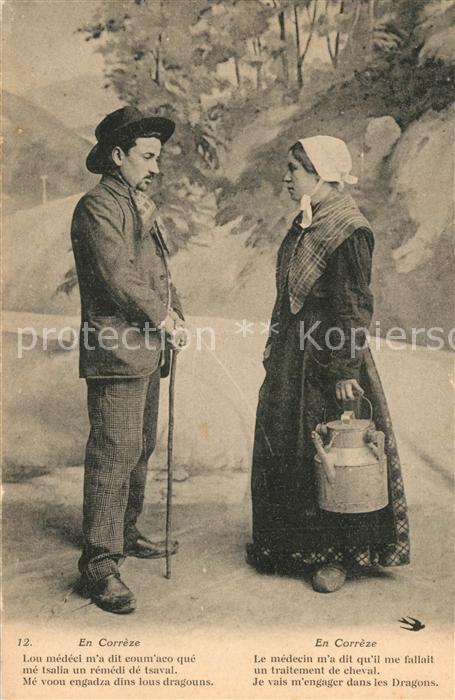 AK / Ansichtskarte Correze Paar in Landestracht Correze