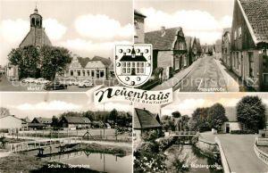 AK / Ansichtskarte Neuenhaus Markt Hauptstrasse Schule Sportplatz Muehlengraben Neuenhaus