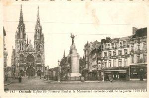 AK / Ansichtskarte Ostende_Oostende Eglise Saint Pierre et Paul Monument aux Morts