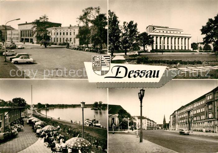 AK / Ansichtskarte Dessau Rosslau Hauptbahnhof Landestheater HO Gaststaette Kornhaus Dessau Rosslau