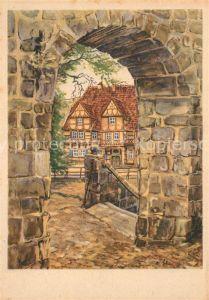 AK / Ansichtskarte Quedlinburg Klopstock Haus Kuenstlerkarte Quedlinburg