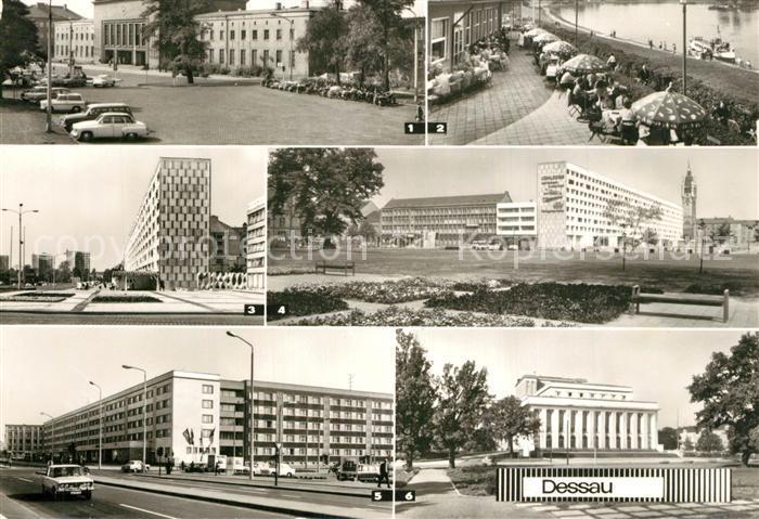AK / Ansichtskarte Dessau Rosslau Hauptbahnhof HO Gaststaette Kornhaus Landestheater Dessau Rosslau