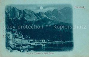 AK / Ansichtskarte Garmisch Partenkirchen Eibsee mit Zugspitze und Hotel Eibsee mit Vollmond Garmisch Partenkirchen