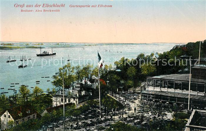 AK / Ansichtskarte Hamburg Elbschlucht Gartenpartie mit Elbstrom Hamburg