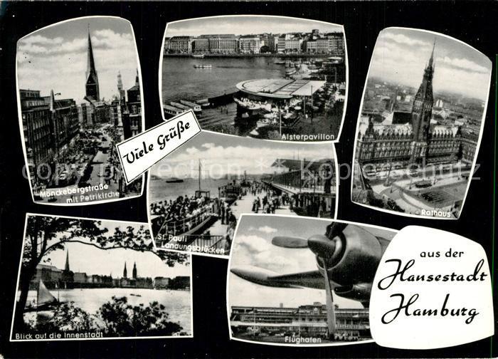 AK / Ansichtskarte Hamburg M?nckebergstrasse Alsterpavillon Rathaus Flughafen Hamburg
