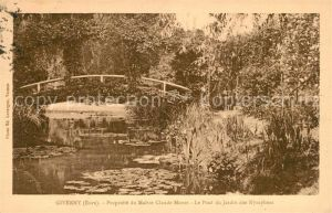 AK / Ansichtskarte Giverny Pont du Jardin des Nympheas Propriete du Maitre Claude Monet Giverny