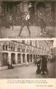 AK / Ansichtskarte Ypres_Ypern_West_Vlaanderen Avenement au Trone de Belgique du Roi Albert Visite de la Reine des Belges aux ruines Ypres_Ypern