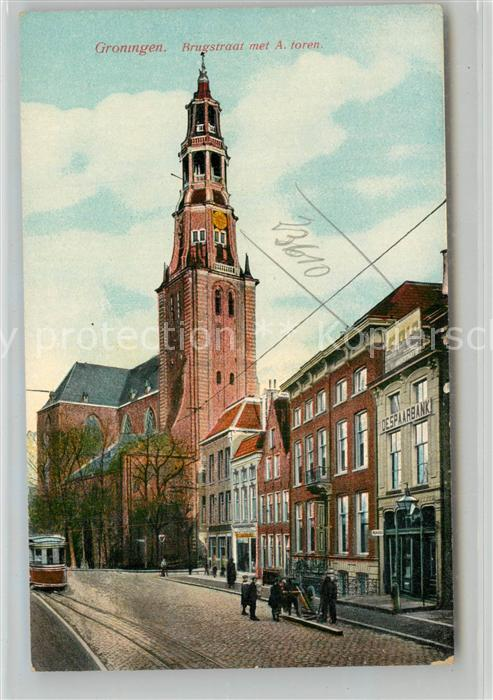 AK / Ansichtskarte Groningen Brugstraat met A. toren Groningen