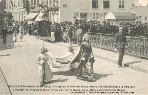 AK / Ansichtskarte Bruges_Flandre Procession du S Sang Groupe du S Nom de Jesus Jeune fille representant la Belgique Bruges_Flandre
