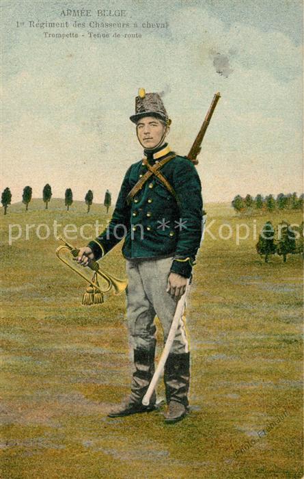 AK / Ansichtskarte Gand_Belgien Armee Belge 1er Regiment des Chasseurs a cheval Trompette Tenue de route Gand Belgien
