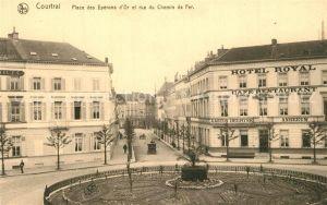 AK / Ansichtskarte Courtrai_Flandre Place des Eperons d'Or et rue du Chemin de Fer Courtrai_Flandre