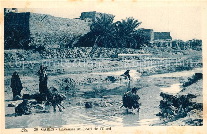 AK / Ansichtskarte Gabes Lavueses au bord de l Oued Gabes
