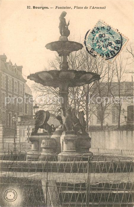 AK / Ansichtskarte Bourges Fontaine Place de l Arsenal Bourges