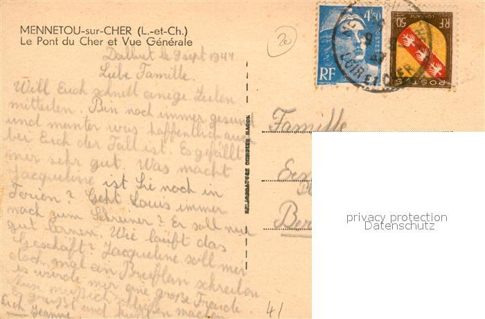 AK / Ansichtskarte Mennetou sur Cher Vue generale Pont du Cher Mennetou sur Cher 1