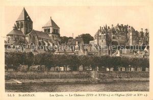 AK / Ansichtskarte Saint Aignan_Loir et Cher Les Quais Chateau Eglise Saint Aignan Loir et Cher
