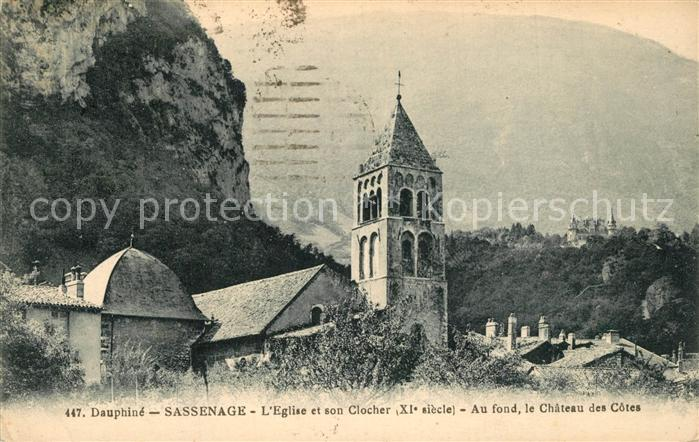 AK / Ansichtskarte Sassenage Eglise Clocher XIe siecle Chateau des Cotes Sassenage