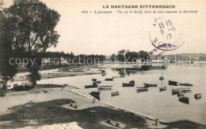 AK / Ansichtskarte Lorient_Morbihan_Bretagne Vue sur le Scorff prise du pont suspendu de Kerentrech Lorient_Morbihan_Bretagne