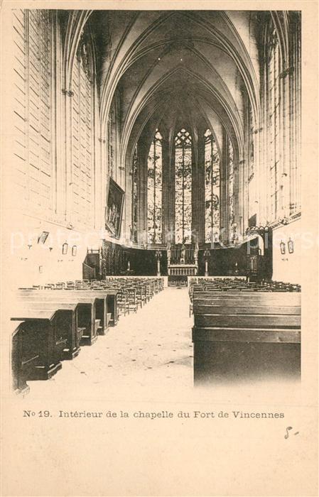 AK / Ansichtskarte Vincennes Interieur de la chapelle du Fort de Vincennes Vincennes