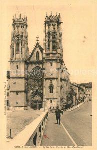 AK / Ansichtskarte Pont a Mousson Eglise Saint Martin et Rue Gambetta Pont a Mousson