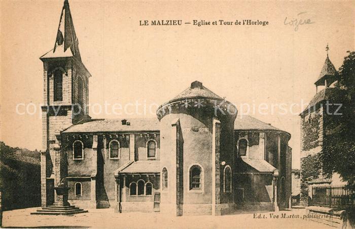 AK / Ansichtskarte Le_Malzieu Ville Eglise et Tour de l Horloge Le_Malzieu Ville