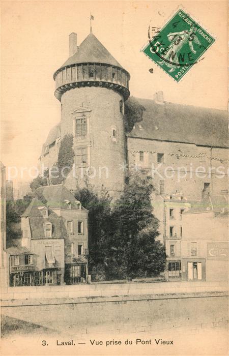AK / Ansichtskarte Laval_Mayenne Donjon du Chateau vue prise du pont vieux Laval Mayenne