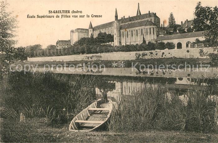 AK / Ansichtskarte Saint Gaultier Ecole superieure de Filles vue sur la Creuse Saint Gaultier