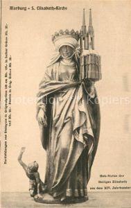 AK / Ansichtskarte Marburg_Lahn Holzstatue der Heiligen Elisabeth St. Elisabeth Kirche Marburg_Lahn