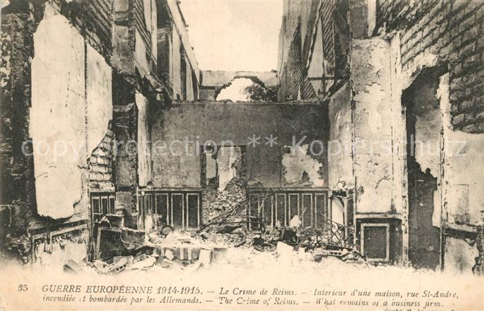 AK / Ansichtskarte Reims_Champagne_Ardenne Interieur d'une maison rue St Andre incendiee et bombarde par les Allemands Reims_Champagne_Ardenne