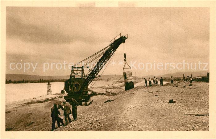 AK / Ansichtskarte Kembs_Elsass Construction du Canal grand dragline americain Kembs Elsass