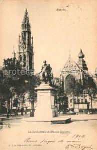 Anvers_Antwerpen La Cathedrale et Statue Rubens Anvers Antwerpen