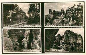 Sudetengau Touristenbaude Felsformationen Grossvaterstuhl Doktorlabyrint Indischer Elefant Sudetengau
