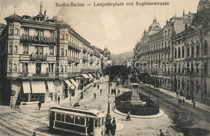 AK / Ansichtskarte Baden Baden Leopoldsplatz mit Sophienstrasse Denkmal Strassenbahn Baden Baden