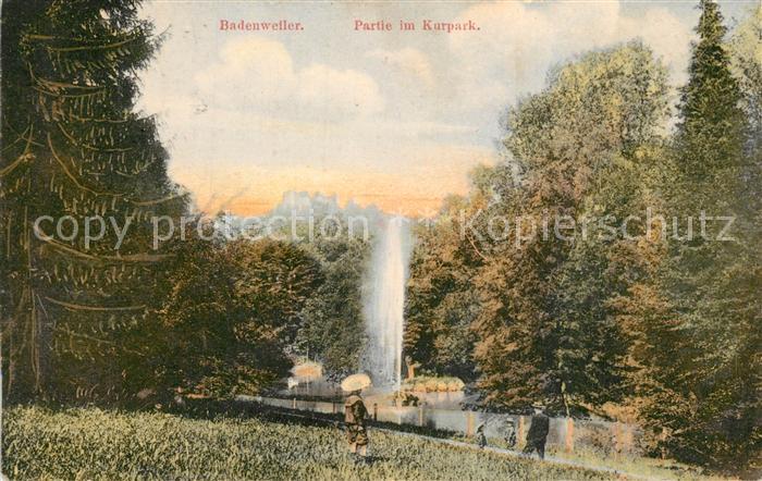 AK / Ansichtskarte Badenweiler Partie im Kurpark Fontaene Kurort im Schwarzwald Badenweiler