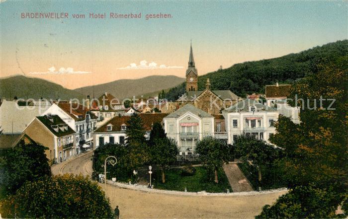 AK / Ansichtskarte Badenweiler Ansicht vom Hotel Roemerbad aus Blick zur Kirche Kurort im Schwarzwald Badenweiler