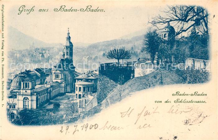 AK / Ansichtskarte Baden Baden Panorama Blick von der Schlossterrasse Baden Baden