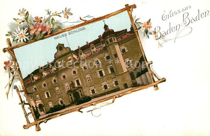 AK / Ansichtskarte Baden Baden Neues Schloss Bilderrahmen Blumen Baden Baden