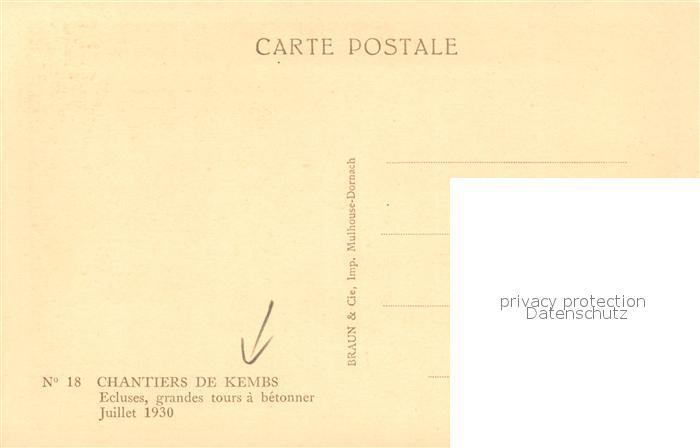 AK / Ansichtskarte Kembs_Elsass Ecluses grandes tours a betonner 1930 Kembs Elsass 1