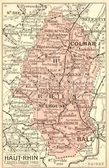AK / Ansichtskarte Elsass_Alsace Gebietskarte Elsass Alsace 0