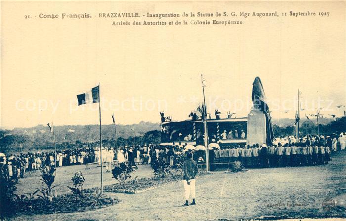 AK / Ansichtskarte Brazzaville Inauguration de la Statue de SG Mgr Augonard Brazzaville