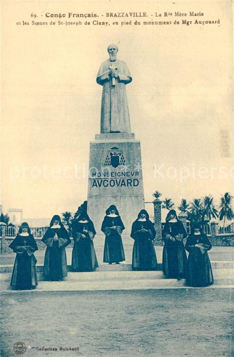 AK / Ansichtskarte Brazzaville La Rue Mere marie et les Soeurs de St Joseph de Cluny au pied du monument de Mgr Augouard Brazzaville