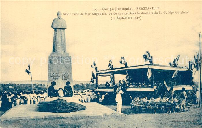 AK / Ansichtskarte Brazzaville Monument de Mgr Augouard vu dos pendant le discours de SG Mgr Guichard Brazzaville
