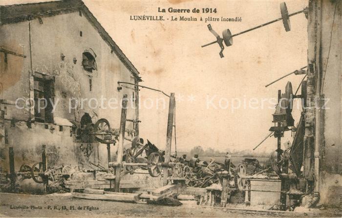AK / Ansichtskarte Luneville La Guerre de 1914 Le Moulin a platre incendie Luneville 0