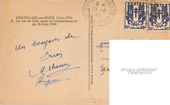 AK / Ansichtskarte Chatillon sur Seine la rue de l'Isle apres le bombardement du 15 Juin 1940 Chatillon sur Seine 1