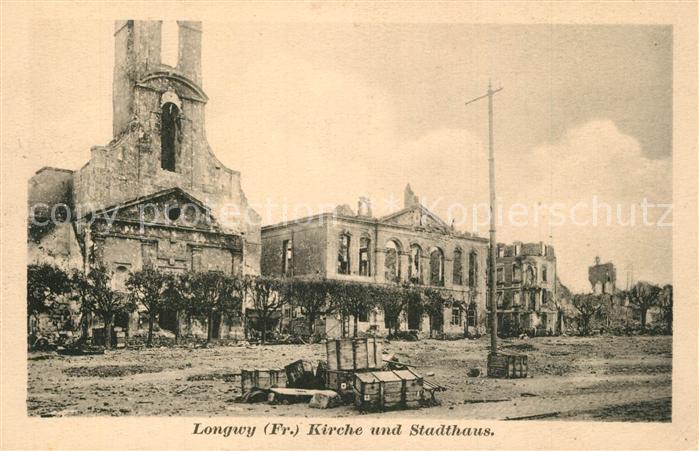 AK / Ansichtskarte Longwy_Lothringen Kirche und Stadthaus Longwy Lothringen 0